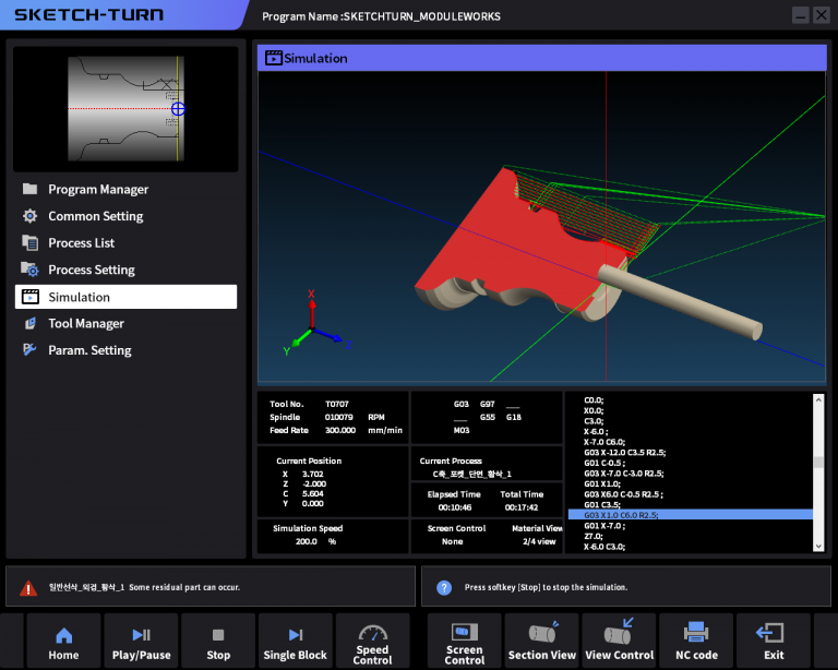 Sketch Turn with MW Cutting Simulation